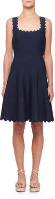 Alaia Tonal Wave Scalloped Knee Length Dress