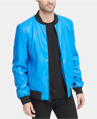DKNY Men Soft Faux-Leather Bomber Jacket
