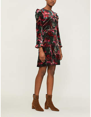 Sandro Floral velvet dress