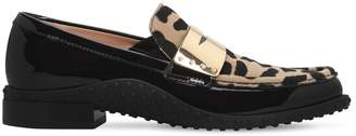 Tod's 20MM PATENT LEATHER & PONY SKIN LOAFERS