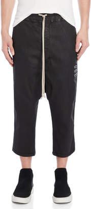 Rick Owens Black Coated Drop Crotch Pants