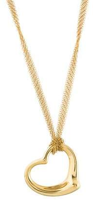 Tiffany & Co. 18K Open Heart Pendant Necklace