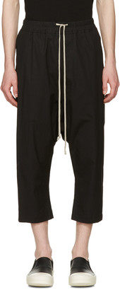Rick Owens Black Cropped Drawstring Trousers $515 thestylecure.com