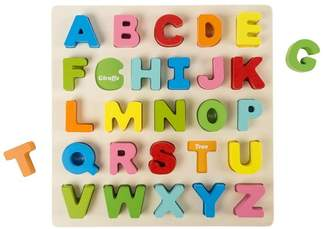 Wooden Alphabet Learning Puzzle With Wood Letters by Hey! Play!