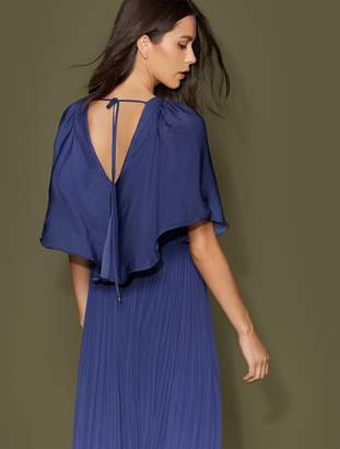 Halston Cape Sleeve Flowy Pleated Gown