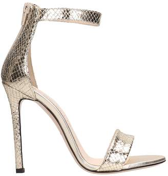 Marc Ellis Laminated Snake Print Platinum Leather And Suede Sandals