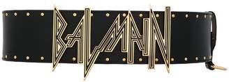 Balmain embossed logo waist belt