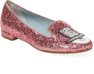 Chiara Ferragni Eye Detail Glitter Loafers
