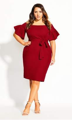 City Chic Citychic Dainty Sleeve Dress - crimson