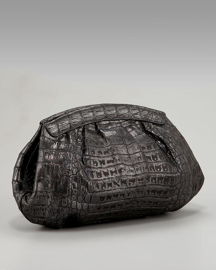 Nancy Gonzalez Gathered Glazed Croc Clutch