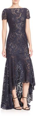 Theia Sleeveless High-Low Lace Gown $795 thestylecure.com
