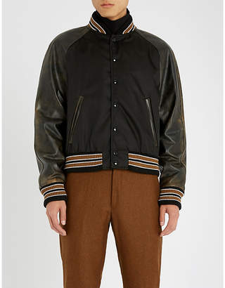 Prada Striped nylon and leather varsity jacket