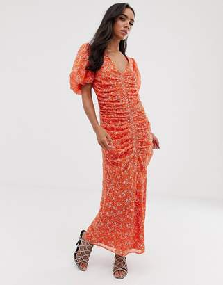 Asos Design DESIGN ruched maxi dress in floral embroidery