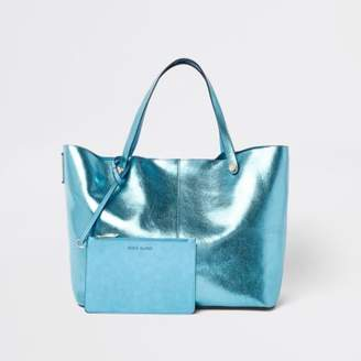 River Island Womens Blue metallic tote beach bag