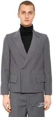 Off-White Off White Pinstriped Cool Wool Blazer
