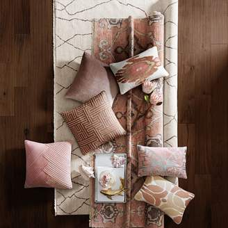 Williams-Sonoma Embroidered Ikat Pillow Cover, Blush