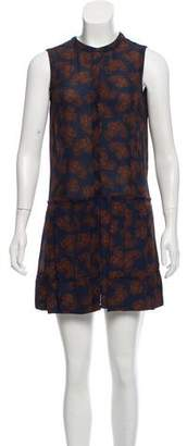 A.L.C. Silk Sleeveless Printed Knee-Length Pleated Dress