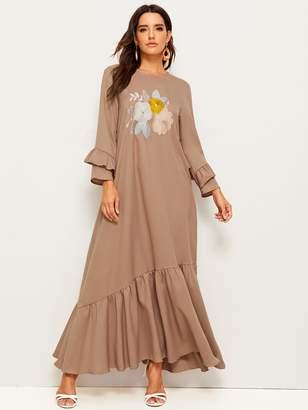 Shein Ruffle Sleeve Flower Embroidered Flounce Hem Dress
