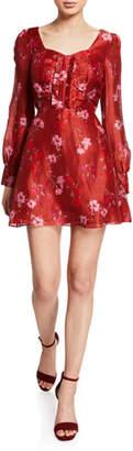 Dahlia La Maison Talulah Floral-Print Long-Sleeve Mini Dress