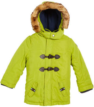 Mayoral Hooded Toggle-Front Parka with Faux-Fur Trim, Size 12-36 months