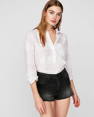 Express Plaid One Pocket Cotton Popover Boyfriend Shirt