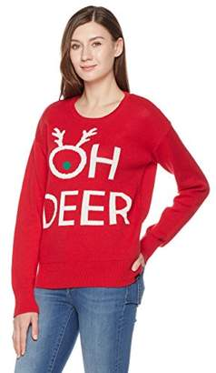 Oh Deer Ugly Fairisle Unisex Adult Jacquard Crewneck Long Sleeve Christmas Sweater M Red/White / Green