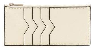 Valextra Contrast Edge Grained Leather Coin Purse - Womens - Ivory
