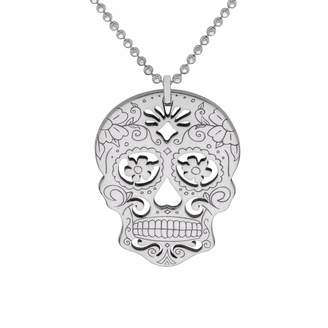 CarterGore - Silver Sugar Skull with Flower Eyes Pendant Necklace