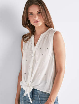 Lucky Brand POLKA DOT TIE FRONT TOP