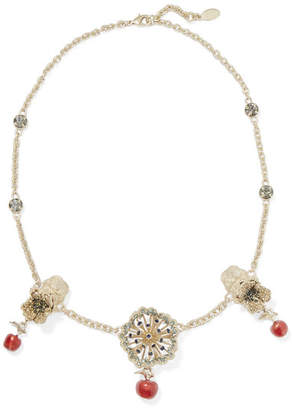 Valentino Garavani Gold-tone, Crystal And Enamel Necklace