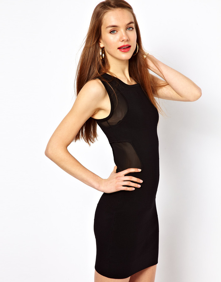 French Connection Mesh Panel Bodycon Dress