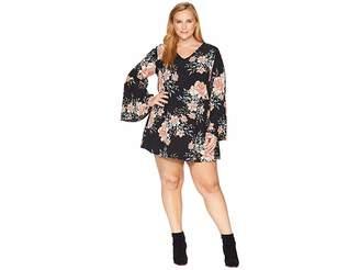 KARI LYN Plus Size Ramsey Flare Sleeve Floral Dress