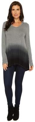 Mod-o-doc Rayon Spandex Jersey Dip-Dye Back Pleat Long Sleeve Tee Women's T Shirt