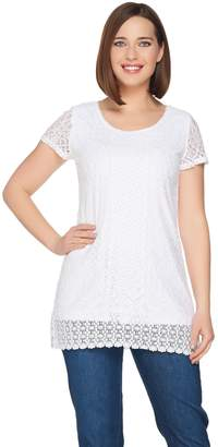 Isaac Mizrahi Live! Mixed Lace Short Sleeve Tunic