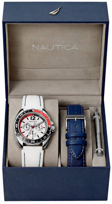 Nautica Men N09907G Sport Ring Multifunction White Silicone Strap Watch Box Set with Navy Leather Strap