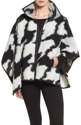 Women's French Connection Zip Front Houndstooth Wool Blend Poncho $168 thestylecure.com