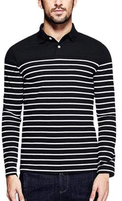 Lintimes Men's Casual Long Sleeve Striped Shirt Slim Fit Polo Collar T Shirts Male Tops Tee Autumn Winter