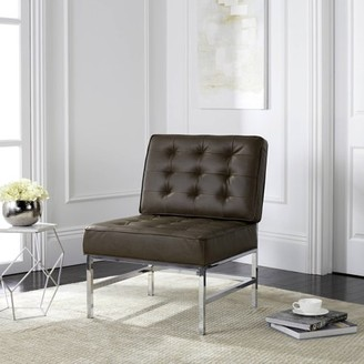 Safavieh Ansel Modern Tufted Leather Chrome Accent Chair, Antique Taupe