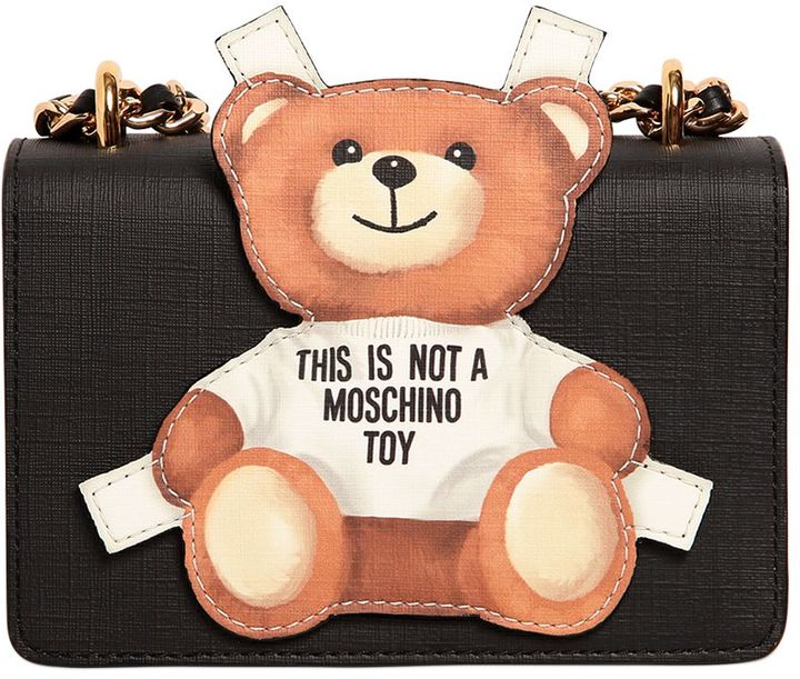 MoschinoTeddy Bear Tab Leather Shoulder Bag