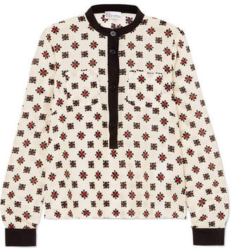 RED Valentino Printed Silk Blouse - Ivory