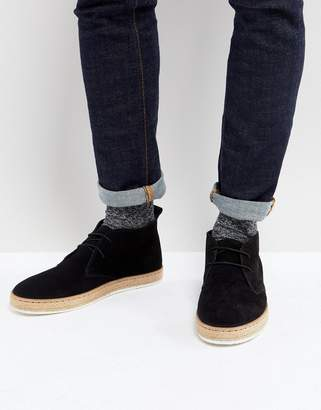 Dune Desert Boots With Espadrille Sole Black