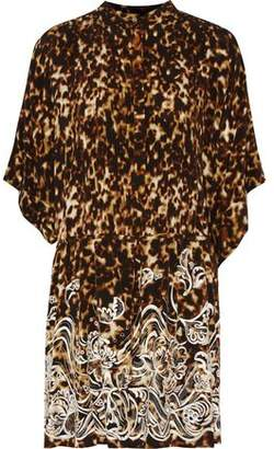 Roberto Cavalli Embroidered Leopard-Print Silk Crepe De Chine Mini Dress