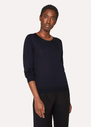 Paul Smith Women's Navy Wool Sweater With 'Artist Stripe' Collar
