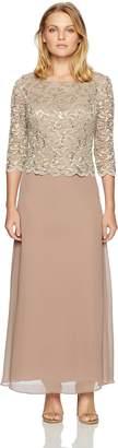 Alex Evenings Women's Long Mock Dress with Scallop Detail