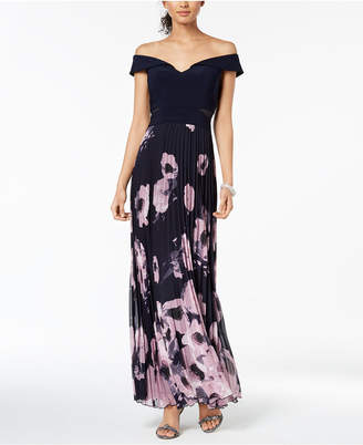 Xscape Evenings Pleated Off-The-Shoulder Gown, Regular & Petite Sizes