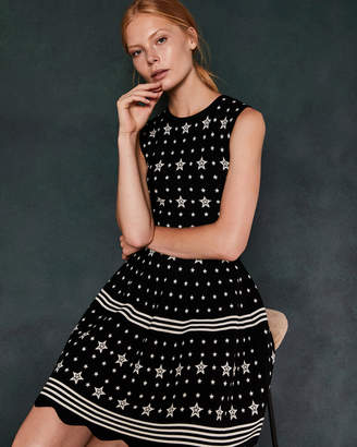 Ted Baker MARIAE Star jacquard knit dress