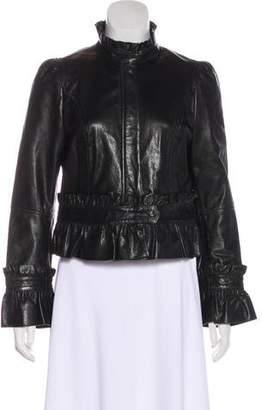 RED Valentino Ruffled Leather Jacket