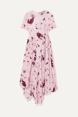 Preen Line Lois Asymmetric Shirred Floral-print Georgette Midi Dress - Pastel pink