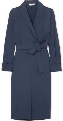 Max Mara Wrap-effect Stretch-wool And Silk Crepe De Chine Dress - Blue