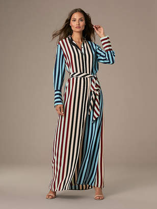 Diane von Furstenberg Long Sleeve Floor Length Shirt Dress